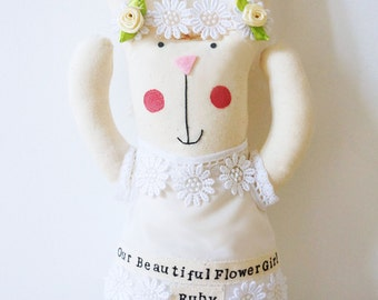 Flower girl gift/ bridesmaid gift/ personalised wedding bunny rabbit.
