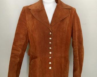 1970s Rust Orange Suede Hippy Jacket Silver Snap Buckle Belt Back Size Medium