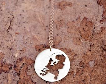 Netherlands Map / Netherlands Necklace / Holland Necklace / Netherlands Outline /Dutch Souvenir/ Gesellig/ Nederland necklace/Country Charm