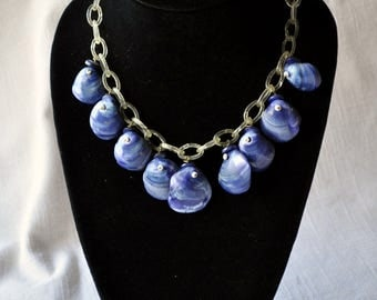 Bright Blue Dangling Shells on Celluloid Chain Necklace