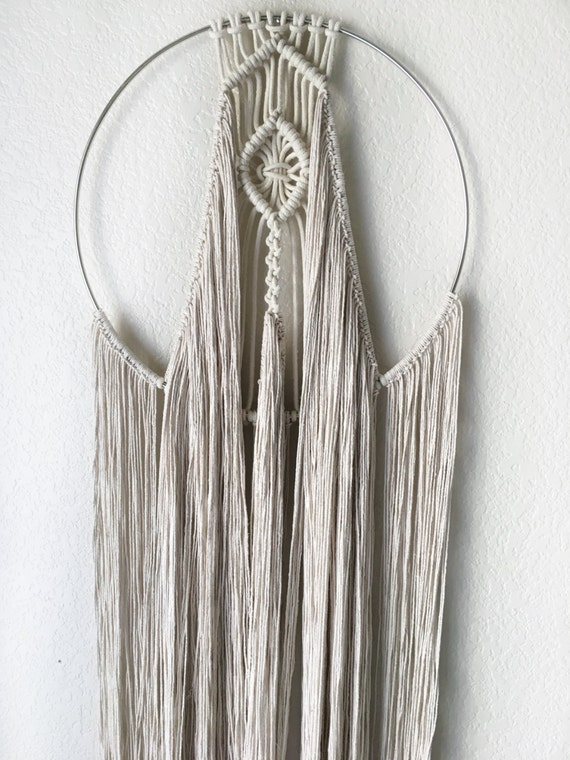 Sale boho macrame dream catcher wall hanging circle yarn for How to make a double ring dreamcatcher