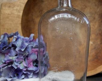 Vintage Warranted Flask Glass Bottle