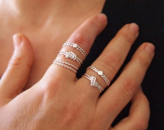 """Silver Rope Knot Ring, Thin Stacking Rings, Friendship Ring, Love Knot, String  Rings, 2 Rings or 3 Rings, Handmade """" With Only a Rope """""""