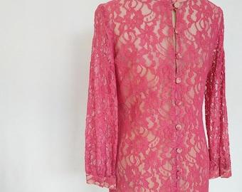 Vintage Pink Rose Alençon Lace Dress