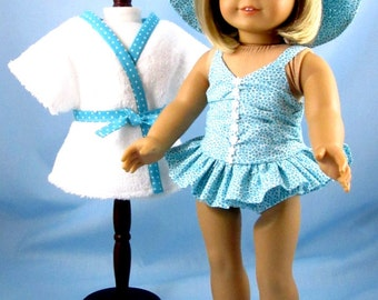 Doll Swimsuit 18 Inches - fits American Girl Dolls - 18 Inch Doll Clothes - Three Piece Doll Swim Set - Turquoise Doll Clothes