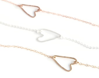 Open Heart Silver Heart Pendant Charm Necklace - Rose Gold Heart Outline -  Yellow Gold Heart Link Necklace