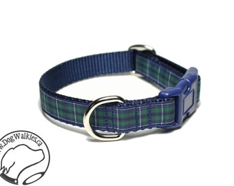 """NEW - Modern Douglas Clan Tartan Dog Collar / 3/4"""" (19mm) Wide - Navy Plaid - Martingale or Side Release / Choice of collar style and size"""