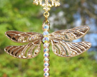 BRILLANCE DRAGONFLY Iridescent AB Sparkling Tree Jewelry Christmas Ornament