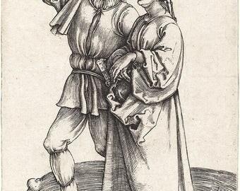 Durer Fine Art Reproductions.   Three Small Peasant Engravings, Set No. 2 by Albrecht Durer. 3 Fine Art Prints.