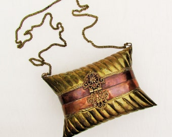 Vintage brass and copper pillow purse made in India, c.1970's brass shoulder bag