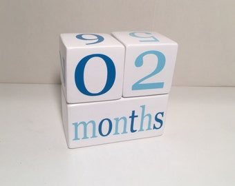 Baby Age Blocks, Wooden Milestone Blocks, Photo Prop, Blues or Custom Color