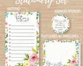 Personalized Stationery Set // Personalized Notepad // Personalized Cards // Address Labels // Floral Stationery
