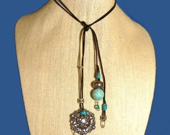 Lariat Necklace Choker, Turquoise Stones & Large Silver Pendant. FREE U.S. Shipping.  Great Gift for Your Favorite Gal.