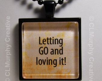 Custom Hand Art Necklace Let Go Pendant Jewelry Christian Pendant Sobriety NA AA C L Murphy Creative