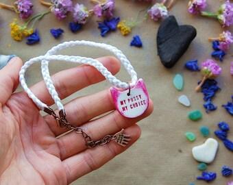 Feminist Activist Kitten Pendant Talisman - Custom Engraved Feminist Jewelry - Nasty Woman