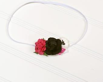 Black Taffy - beautiful dainty flower headband in black, white, fuchsia and hot pink (RTS)