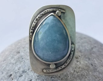 Irene, Aquamarine and Argentium Sterling Silver Statement Ring, OOAK, Wearable Art, Size 6