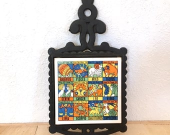 Vintage zodiac ceramic tile and iron trivet retro horoscope kitchen decor