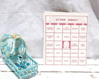 Vintage Stork Bingo Cards Scrapbook Supply Journal Ephemera Baby Shower Garland Paper Ephemera Vintage Cards Baby Shower Activity