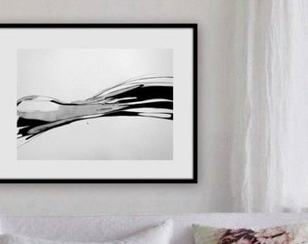 Original ink painting. Abstract  artwork. Minimalist. Black and white modern painting, Modern house. Expression.
