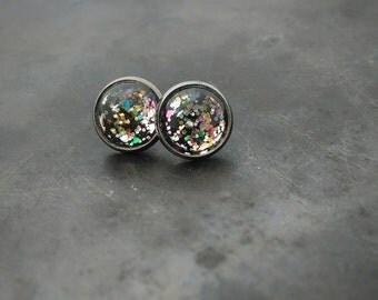 Glitter studs for sensitive ears ~ stainles steel stud earrings ~ stainles steel studs ~ hypoallergenic stud earrings ~ gift for her