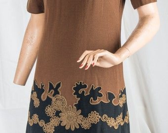 Edith Flagg 1960s brown and black wool dress w/ floral embellishments