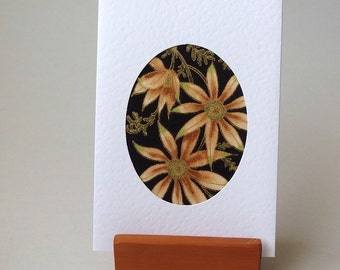 "Australian Flowers Fabric Card  -  6"" x 4"" with envelope. Blank for any occasion. Native Daisy black fabric in white textured greeting card."