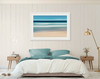 Framed Photography, Nautical Wall Art, Coastal Beach Decor, Abstract Ocean Waves Photo, Martha's Vineyard Artwork, Blue Teal Beige White