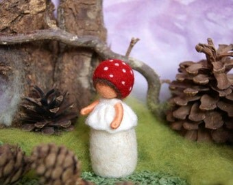 Little fly agaric child - Waldorf inspired, needle felted, by Naturechild