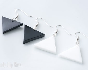 Triangle Earrings, Geometric Earrings, Black Triangle Earrings, Minimalist earrings, White Triangle Earrings, Modern earrings, Handmade