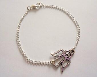 angel bracelet -  angel wing bracelet - angel charm bracelet - silver bracelet - guardian angel bracelet - angel pendant - angel jewelry