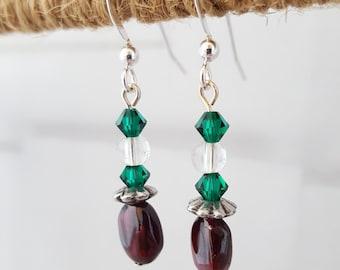 Garnet, Swarovski, Crystal Quartz and Pewter Earrings
