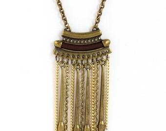 Gold Tassel Necklace, Vintage Tassel Necklace, Long Tassel, Vintage Necklace, Layering Necklace Gold, Vintage Tassel,Multi Strand Chain LN90