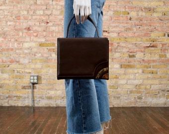 60s vinyl handbag / retro handbag / brown top handle purse / structured purse / top handle bag / mod bag / brown handbag / small purse