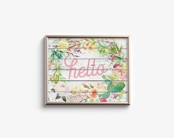 Printable Wall Art - Hello -  Rustic Floral Housewarming Gift - Horizontal Home Decor - Nursery Art - Baby Shower - Bridal Shower - SKU:3126