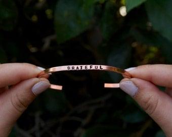 Thin Cuff Bracelet. GRATEFUL. Yoga Jewelry. Grateful quote. Grateful bracelet. Gratitude. Gift for her.