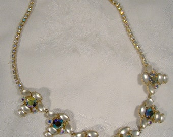 Satin Moonstone Glass Aurora Borealis Rhinestone Necklace 1950s