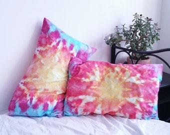 Tie Dye Pillow, Hippie Bedding, Boho Pillowcase x2, Tie Dye Bedding