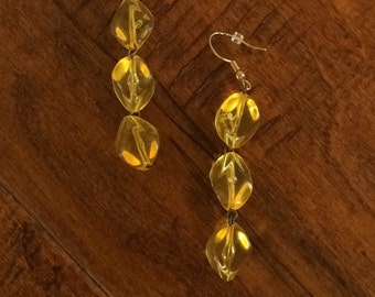 Yellow Lucite Earrings, Lucite Bead Earrings. Yellow Dangle Earrings, Yellow Lucite, Chunky Yellow Earrings, 1960's Lucite Earrings