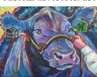 CUSTOM LIVESTOCK PAINTINGS cow cattle steers calves calf goat sheep chickens horse 4h ffa