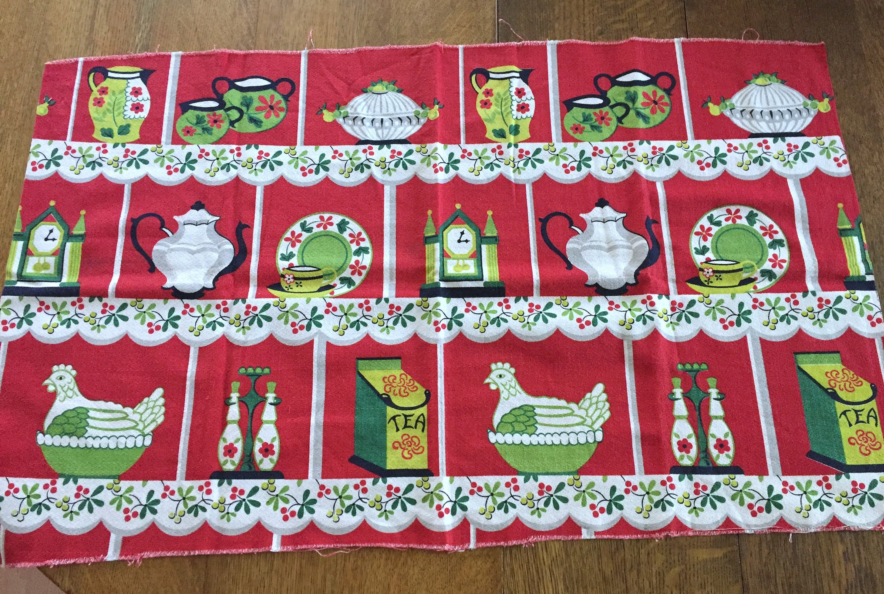 Barkcloth Cotton Fabric Vintage Red Kitchen Bark Cloth