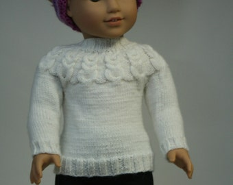 "18"" Doll Sweater, Hand Knit Sweater, White Sweater, made to fit American Girl Doll, Hand Knit Doll Clothes"