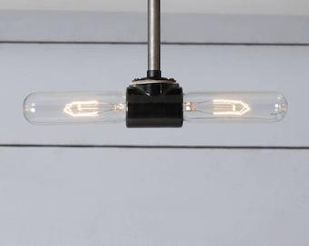 Double Bare Bulb Steel Ceiling Light - Semi Flush Mount