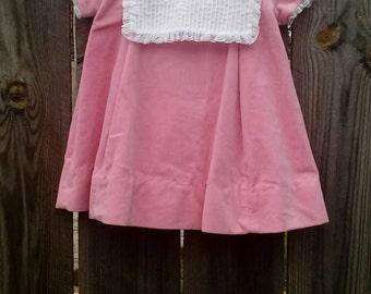 Vintage Baby Girls Pink Velvet Dress Size 18-24 Months