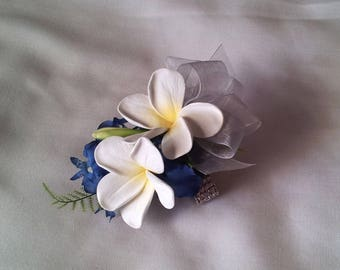 Plumeria Frangipani with Blue Orchid Wrist Corsage