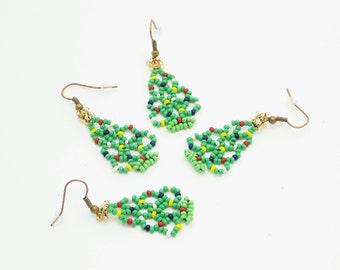 Christmas jewelry beaded earrings green earrings christmas tree earrings seed beads earrings christmas earrings xmas tree earrings holiday
