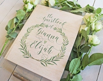 Rustic Wreath Guest Book - Botanical Greenery Wedding Guestbook - Custom Laurel Wedding Guest Book - Green Leaves - Keepsake - 8 x 10
