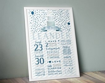 Boy Birthday Party Stats Poster - Custom One Year Old Facts Sign - Blue & Gray Birthday Decor - Watercolor Cake Milestone Poster