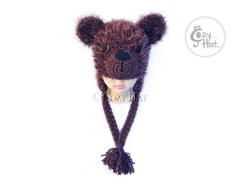 READY to SHIP! Fluffy brown bear hat. Handmade by Cozy Hat. Toddler Size. SALE