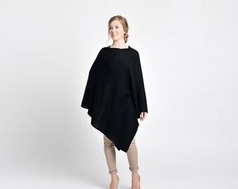 cashmere poncho, black poncho, plus size poncho, plus size black cape, oversized poncho, ruana, black shawl, knit poncho,  oversize poncho